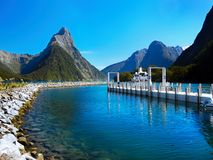New Zealand, Milford Sound, Scenic Mountains Landscape. A scenic fjord - Milford Sound, Fiordland National Park. South Island, New Zealand`s most famous tourist Stock Photo