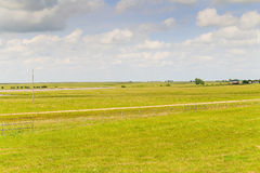 Scenic Flint Hills. Scenic view of the Flint Hills region in Kansas with green pastures and trees, blue sky with some white clouds Stock Photography