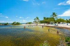 Scenic Florida Keys. Key Largo, Florida - August 17, 2018: Visitors enjoying the beach lagoon in the scenic Harry Harris Park in the popular Florida Keys royalty free stock image