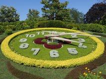 Scenic flower clock located on western side of English garden urban public park in european Geneva city Switzerland royalty free stock photos