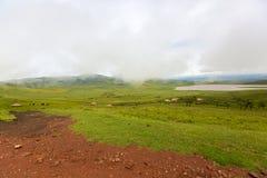 Scenic foggy of Maasai boma hut enclosure near Lake Magadi at Ngorongoro Crater in Tanzania, East Africa. Scenic foggy of Maasai boma hut enclosure near Lake stock photo