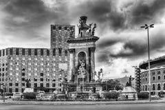 Scenic fountain in Placa d& x27;Espanya, Barcelona, Catalonia, Spain Royalty Free Stock Photos