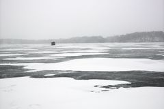 Scenic of frozen lake. Stock Photo
