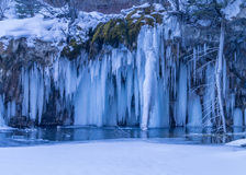 Scenic frozen waterfall Stock Photo