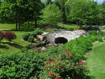 Scenic Garden. A scenic garden with a small creek and a bridge royalty free stock photography