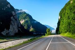 Scenic Georgian Military Highway, High Caucasus Mountains. Georgia royalty free stock photo