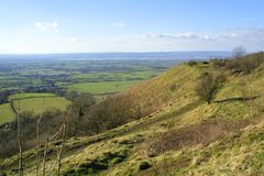 Scenic Gloucestershire - Severn Vale view. View over The Severn Vale from The Cotswold Way long distance footpath near Coaley Peak viewpoint, Cotswolds Royalty Free Stock Photos