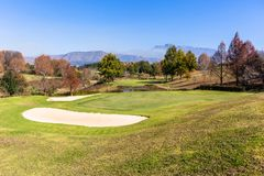 Scenic Golf Course Mountains Stock Image