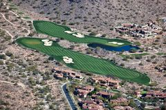 Scenic golf greens in the desert Royalty Free Stock Image