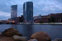 Scenic Grand Rapids, Michigan. Dusk photo of downtown Grand Rapids, MI along the Grand River Stock Photos