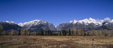 Scenic-Grand Tetons-Mountains in Wyoming in fall. First snow of the fall season Royalty Free Stock Images
