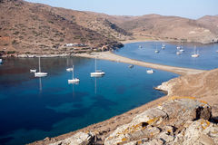 Scenic Greek bays. Top view of scenic Greek bays with white yachts Stock Image