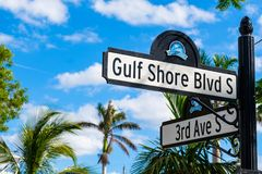 Naples cityscape. Scenic Gulf Shores Boulevard signage in the historic residential district in Naples, Florida Stock Images
