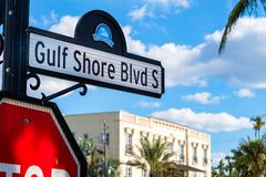 Naples cityscape. Scenic Gulf Shores Boulevard signage in the historic residential district in Naples, Florida Stock Photo