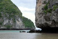 Scenic ha long bay, vietnam. Traveling through scenic and tropical ha long bay in northern vietnam Stock Photography