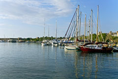 Scenic harbor of Rhodes island, Greece. Scenic harbor of Rhodes island, in Greece royalty free stock image