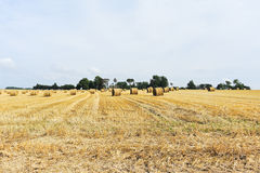 Scenic with haystack rolls on harvested field. In Normandy, France royalty free stock photos