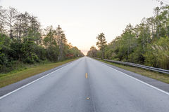 Scenic highway in Florida. Tamiami Trail scenic highway US 41 view at the sunset. Florida, United States Stock Photos