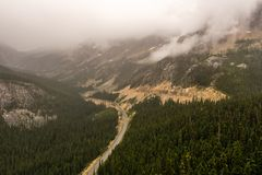 Scenic Highway in mountains in North Washington USA royalty free stock photo