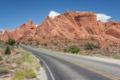 Scenic highway between Petrified Dunes and Fiery Furnace at Arches National Park Utah USA Royalty Free Stock Photo