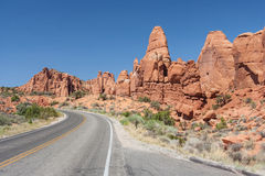 Scenic highway between Petrified Dunes and Fiery Furnace at Arches National Park Utah USA Royalty Free Stock Image