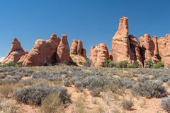 Scenic highway between Petrified Dunes and Fiery Furnace at Arches National Park Utah USA. Scenic highway between Petrified Dunes and Fiery Furnace at Arches Stock Photography