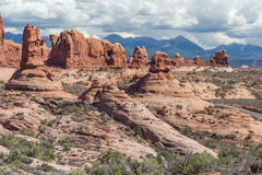 Scenic highway between Petrified Dunes and Fiery Furnace at Arches National Park Utah USA Stock Photo