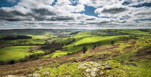 British Countryside  Green Hills at Spring. Scenic hilly green fields at spring of Shropshire in United Kingdom Stock Photography