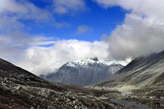 Scenic Himalayan mountain view in North Sikkim, India. On the way to Gurudongmar lake. Himalayan mountain road in North Sikkim India from Lachen to Gurudongmar stock photography