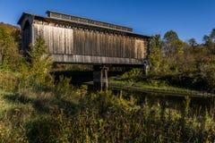 Scenic Historic Covered Bridge - Reflection - Abandoned Railroad - Vermont Stock Image