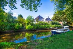 Holland Countryside Canal Scene. Scenic Holland canal scene from Broek in Waterland in the Netherlands royalty free stock image