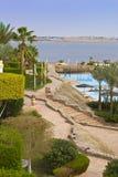 Scenic hotel gardens by ocean Stock Image
