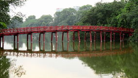 Scenic The Huc Bridge on Hoan Kiem Lake - Hanoi Vietnam stock video footage