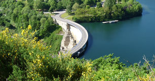 Scenic hydroelectric dam. A view overlooking a hydroelectric dam and Lake Esch-sur-Sure in Luxembourg Stock Photos