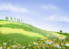 Scenic illustration 03. Cartoon scene illustration, nature country Stock Images
