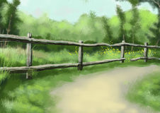 Scenic illustration 07. Cartoon scene illustration, nature country Stock Image