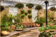 Scenic indoor garden area. Indoor garden area with landscaping and plants stock photos
