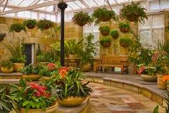 Scenic indoor garden area. Indoor garden area with landscaping and plants stock image