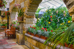 Scenic indoor garden area. Indoor garden area with landscaping and plants royalty free stock photography
