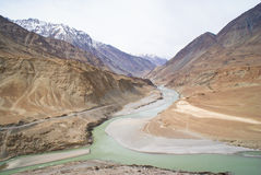 Scenic Indus River in Himalayas. Branching of Indus river in Himalayan mountains in Ladakh, India Stock Photos
