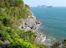Scenic islands in the sea of of Ha Long Bay, Vietnam stock image