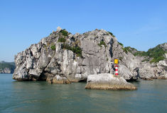 Scenic islands in the sea with lighthouse stock photography