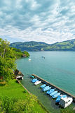 Scenic Jetty in the Thunersee Royalty Free Stock Image