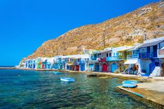 Scenic Klima village traditional Greek village by the sea, the Cycladic-style with sirmata - traditional fishermen`s houses. royalty free stock images
