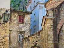 Kotor streets in historic part of town Stock Images
