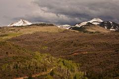 The scenic La Sal Mountain Loop drive. Stormy clouds over the scenic La Sal Mountain Loop drive, Utah royalty free stock image