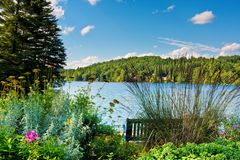 Scenic Lake. A scenic lake in the mountains. There is a bench and a flower garden in the foreground Stock Image