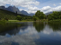 Scenic lake. Shot on a wine farm in stellenbosch, near cape town, South Africa Royalty Free Stock Photos