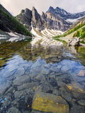 Scenic lake Agnes in the Mountains Stock Images