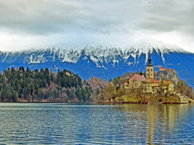 A Scenic Lake Bled in winter Royalty Free Stock Image